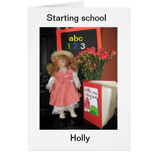 comenzar acebo de la escuela tarjeta de felicitación