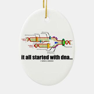 comenzó todo con la DNA. (Réplica de la DNA) Adorno Ovalado De Cerámica