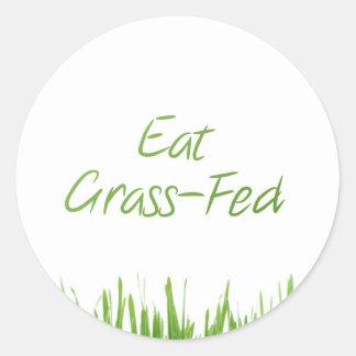 comer-hierba-alimentado pegatina redonda
