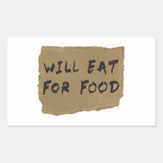 Comerá para la muestra de la cartulina de la pegatina rectangular