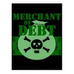 Comerciante de la deuda tarjetas postales