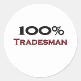 Comerciante del 100 por ciento pegatina redonda