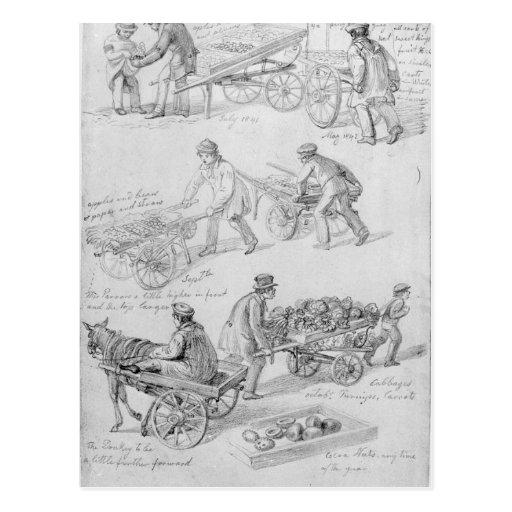 Comerciantes de la calle, Londres, 1842 Postal