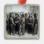 Comerciantes y comerciantes judíos adorno navideño cuadrado de metal