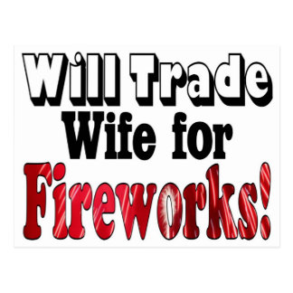 Comercio de la esposa de los fuegos artificiales postal