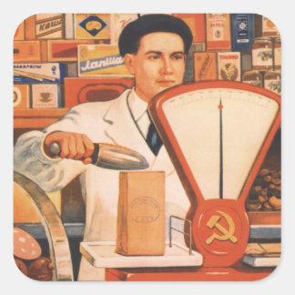 Comercio del soviet pegatina cuadrada