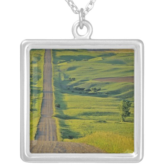 Comertown gravel road in remote northeastern silver plated necklace