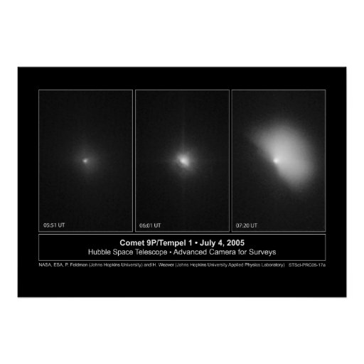 Comet9P-Tempel1Sequence-2005-17a Poster