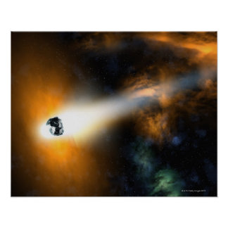 Comet descending through atmosphere poster