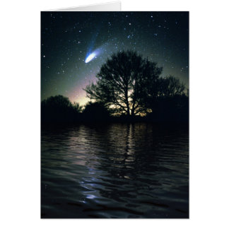 Comet Hale-Bopp and Lake Greeting Card