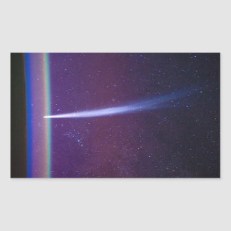 Comet Lovejoy Near Earth's Horizon Rectangle Sticker