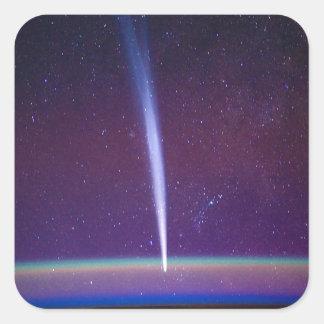 Comet Lovejoy Near Earth's Horizon Square Stickers