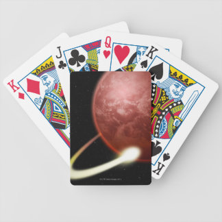 Comet Orbiting a Red Planet Bicycle Playing Cards