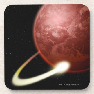 Comet Orbiting a Red Planet Beverage Coaster
