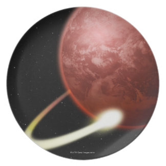 Comet Orbiting a Red Planet Dinner Plate