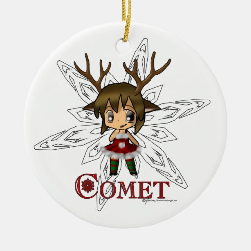 Comet Double-Sided Ceramic Round Christmas Ornament