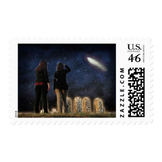 Comet Over the City Postage Stamp
