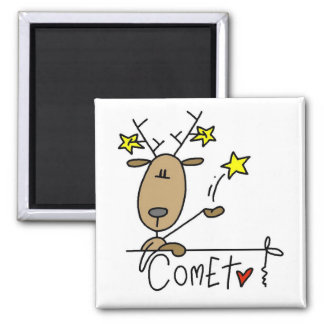 Comet Reindeer Christmas Tshirts and Gifts 2 Inch Square Magnet