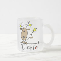 Comet Reindeer Christmas Tshirts and Gifts Frosted Glass Coffee Mug