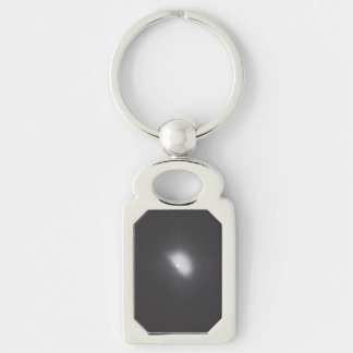 Comet Tempel 1 - 1 Hour, 4 Minutes Impact Silver-Colored Rectangular Metal Keychain