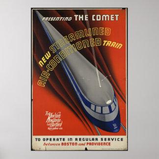 Comet Train Vintage Travel Poster Ad Retro Prints