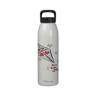 Cometa 3 del corazón botella de agua reutilizable