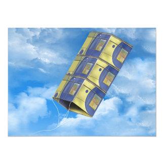Cometa de caja en el cielo invitación 13,9 x 19,0 cm