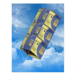 Cometa de caja en el cielo tarjeta postal