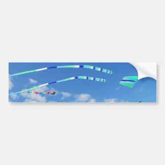 Cometa de la cola larga del verde azul pegatina para auto