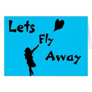 Cometa del amor del vuelo tarjeta de felicitación