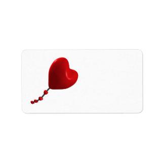 Cometa del corazón etiqueta de dirección