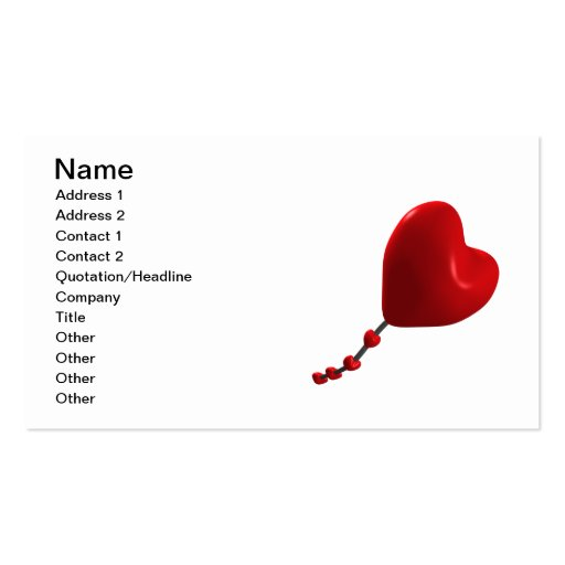 Cometa del corazón tarjeta de visita