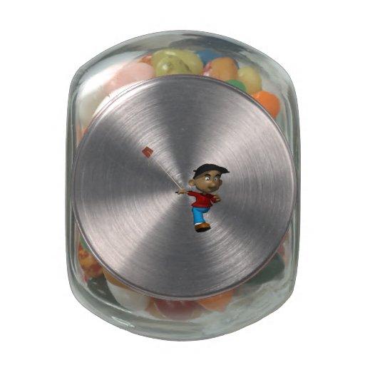 Cometa del vuelo del muchacho jarrones de cristal