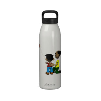 Cometa del vuelo del padre y del hijo botella de agua reutilizable