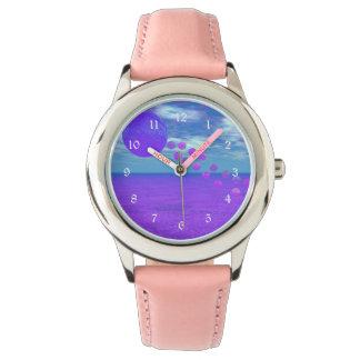 Cometa del vuelo, violeta abstracta, orquídea, relojes de mano