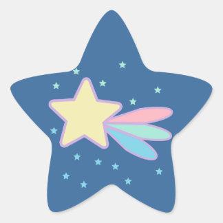 Cometa lindo de la estrella fugaz pegatina en forma de estrella