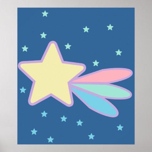 Cometa lindo de la estrella fugaz póster