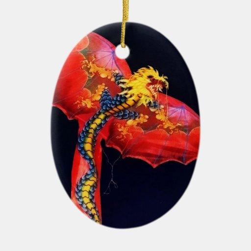 Cometa roja del dragón ornamento para reyes magos