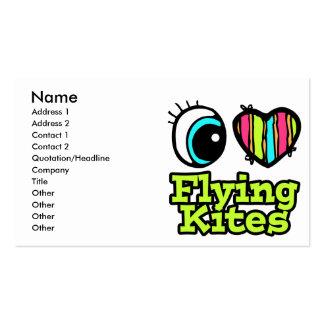 Cometas brillantes del vuelo del amor del corazón  tarjetas de visita