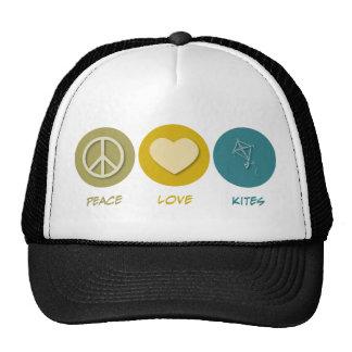 Cometas del amor de la paz gorras
