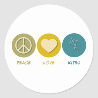 Cometas del amor de la paz etiqueta redonda