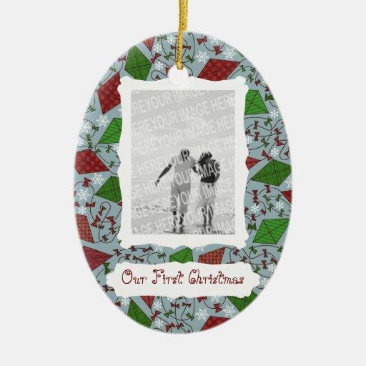 Cometas del navidad, ornamento de la foto adorno navideño ovalado de cerámica