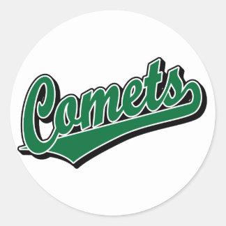 Comets in Green Classic Round Sticker