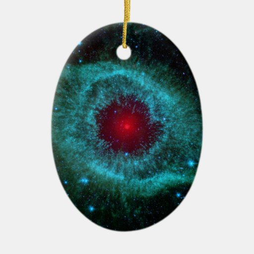 Comets Kick Up Dust in Helix Nebula Double-Sided Oval Ceramic Christmas Ornament