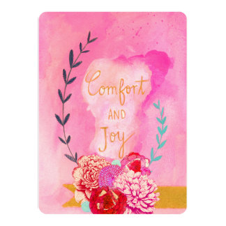 "comfort and joy holiday card 5.5"" x 7.5"" invitation card"