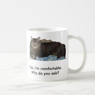 Comfortable on Laundry cat mug