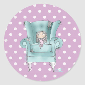 """""""Comfy Chair"""" -teal and pink polka dot stickers"""