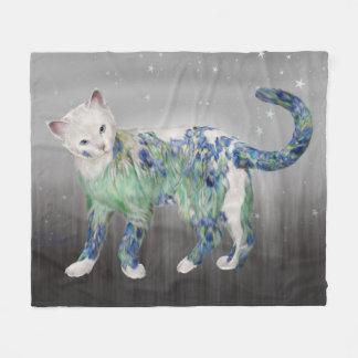 Comfy White Lillie Cat Fleece Blanket
