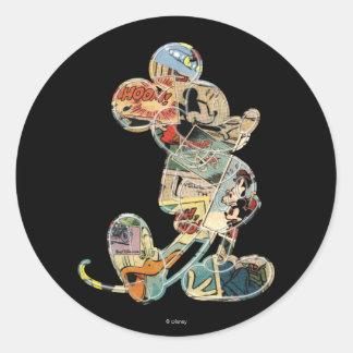 Comic Art Mickey Mouse Classic Round Sticker