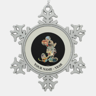 Comic Art Mickey Mouse Snowflake Pewter Christmas Ornament